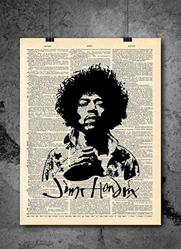Jimi Hendrix Art Print Decor - Musical Guitar God Vintage Dictionary Print 8x10 Home Vintage Art Prints Wall Art for Home Decor Wall Decorations Print Only