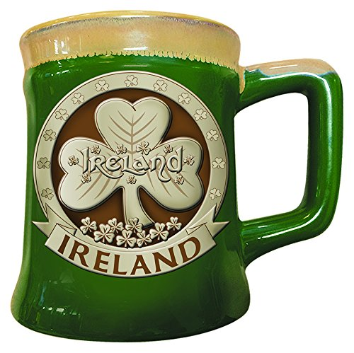 Irish Designed Pottery Mug With A Shamrock Design,