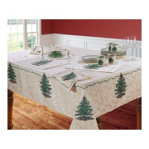 "Spode Christmas Tree Tablecloth 60"" X 104"""