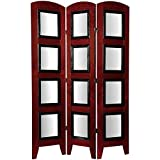 Oriental Furniture 5 1/2 ft. Tall Photo Shoji Screen - 3 Panel - Rosewood