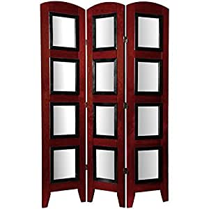 Oriental Furniture 5 1/2 ft. Tall Photo Shoji Screen - 3 Panel - Rosewood