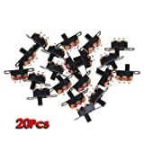 TOOGOO(R) 20pcs 5V 0.3 A Mini Size Black SPDT Slide Switch for Small DIY Power Electronic Projects