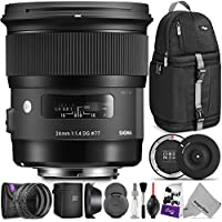 Sigma 24mm F1.4 ART DG HSM Lens for CANON DSLR Cameras w/ Sigma USB Dock & Advanced Photo and Travel Bundle