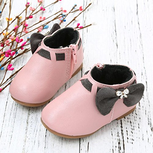 WensLTD Baby Girls Toddler Fashion BowknotS neaker Boots Zipper Child Chelsea Shoes (7, Pink(Thicker))