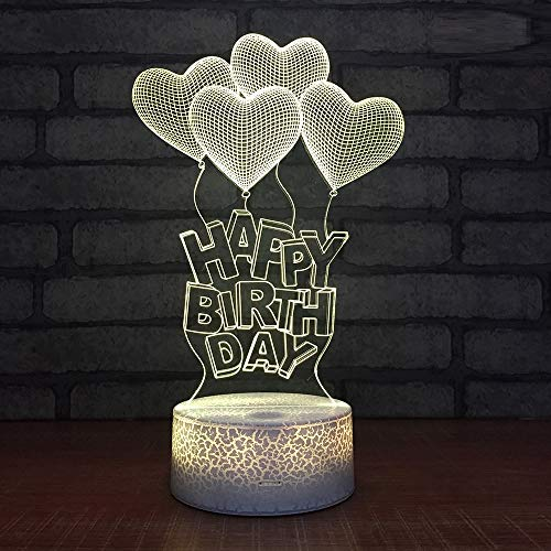 L2eD 3D Led Lamp Table Night Light 7 Color Change Light with Multicolored Touch Button Acrylic Power by USB Batteries Gifts Kids Crack Love Birthday