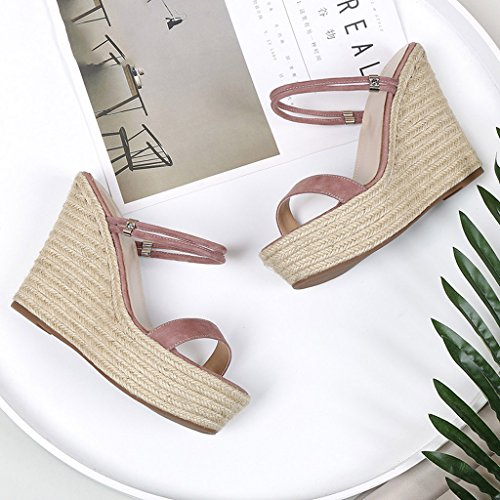 Pink Elegant 11cm Heels Women High Summer Shoes Slippers And Wedding Wedge Straw Sandals Sweet dFfcTqSZd