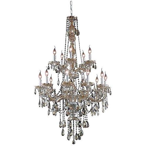 (Elegant Lighting 7915G33GT-GT/RC Royal Cut Smoky Golden Teak Crystal Verona 15-Light, Two-Tier Crystal Chandelier, 33