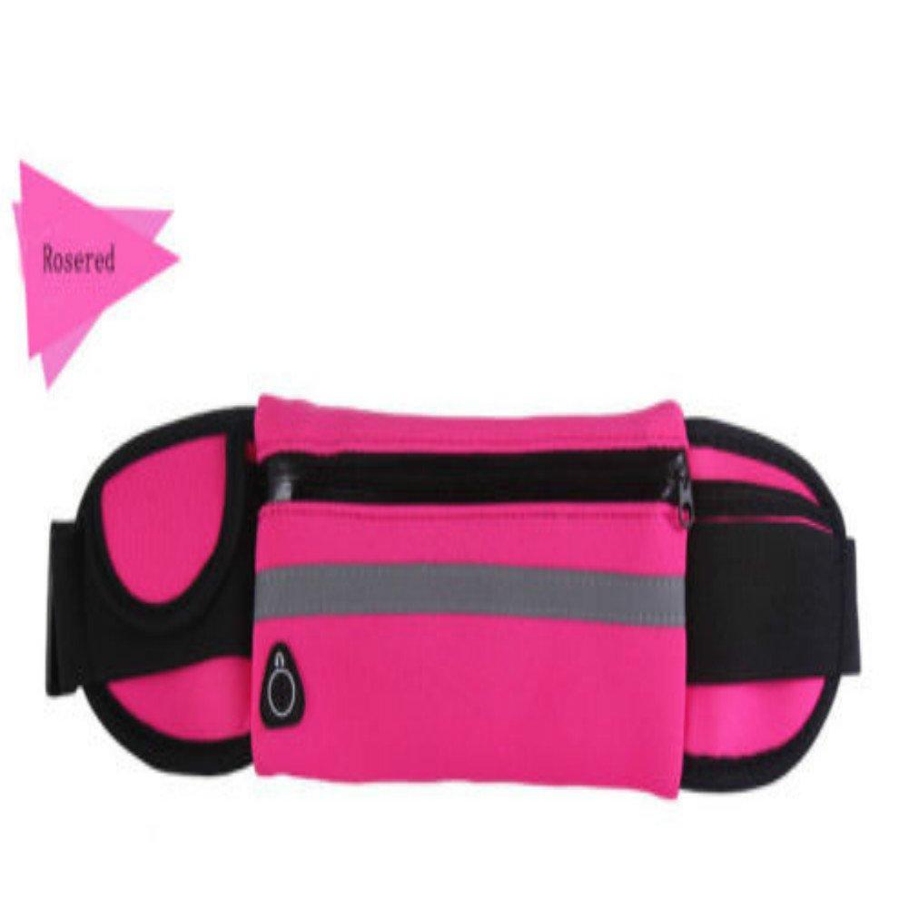 Enshey Running Belt, Adjustable Unisex Waterproof Running Waist Pack Fitness Workout Carry Card, Passport, Money iPhone Sport Pouch, Reflective Waist Belt (Hot Pink)