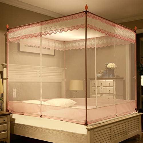蚊帳テント,レース刺繍 モンゴルユルトドームネット 4コーナーベッドキャノピー(ダブルベッド用3開口部付) -h