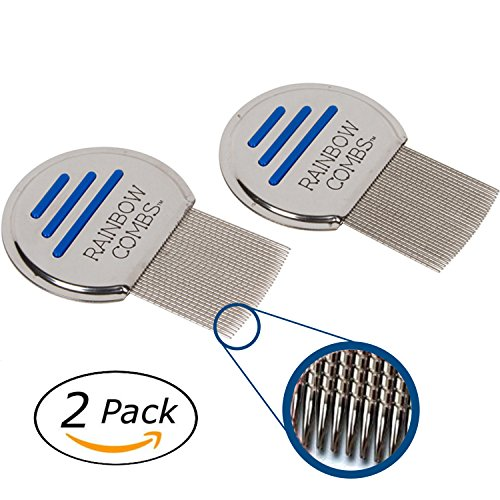 (2 Pack) Rainbow Combs- Stainless Steel  Style Fine Tooth Lice Comb, Effective Treatment to Remove Head Lice and Nits in Kids or Adults (peine para piojos y liendres) by Colors of Rainbow