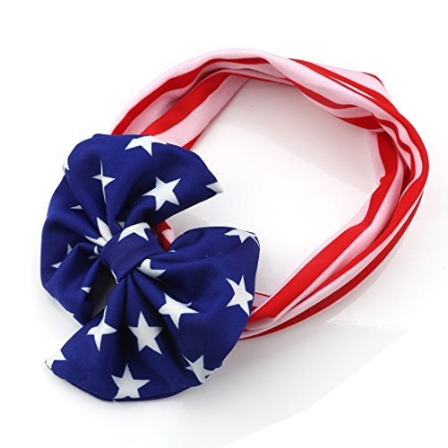 American Flag Pattern Bow Tie Elastic Cloth Neck Warmer Girl Baby HeadBands for Festival Celebrating ,Outdoor,Travel (Usa Rocks American Flag)