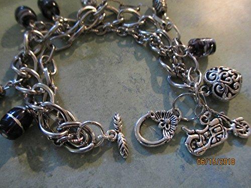 Strand Inspired Triple - Triple Strand Motorcycle Charm Bracelet, Harley Motorcycle Inspired Motorcycle Bracelet