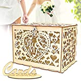 Angela&Alex Wedding Card Box, DIY Gift Card Boxes with Lock and Card Sign Wooden Hollow Wedding Money Box Holder for Reception Weddings Baby Showers Birthdays Graduations Party Decorations