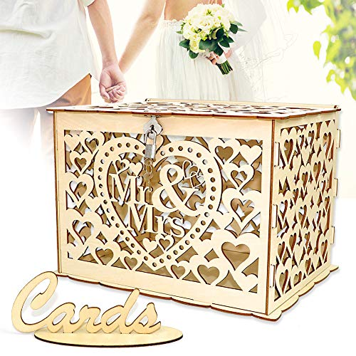 Angela&Alex Wedding Card Box, DIY Gift Card Boxes with Lock and Card Sign Wooden Hollow Wedding Money Box Holder for Reception Weddings Baby Showers Birthdays Graduations Party - Wedding Box Large