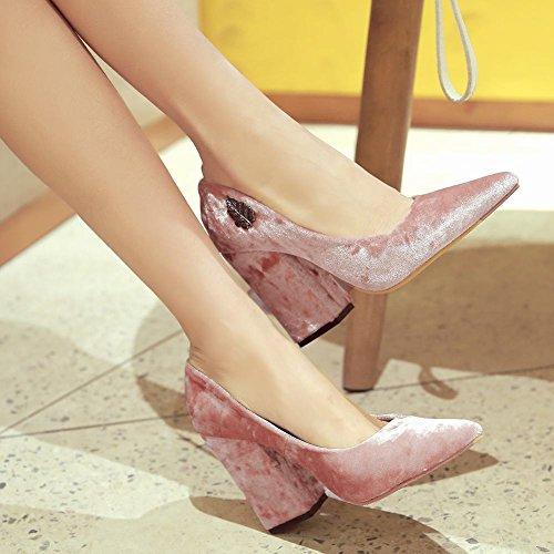 Mee Shoes Damen chunky heels Suede spitz Pumps Pink