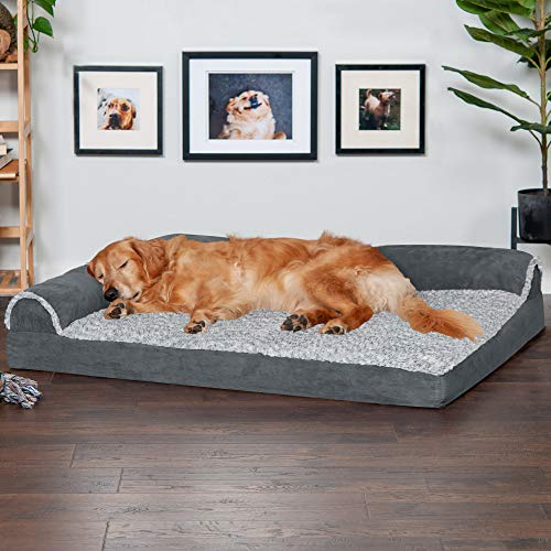 Furhaven Pet Dog Bed – Deluxe Orthopedic Two-Tone Plush and Suede L Shaped Chaise Lounge Living Room Corner Couch Pet…