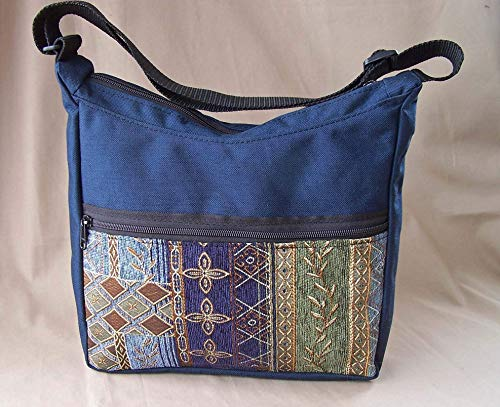 Sapphire Handbag - Shoulder Bag Classy Hobo Handbag Under Arm Shoulder Bag in Navy with Sapphire Tapestry Handmade by MKI Bags