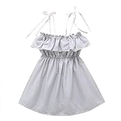 2bcf924b08d Fairy Baby Kids Girls Summer Outfit Off Shoulder Dress Sling Strap A-line  Pleated Sundress
