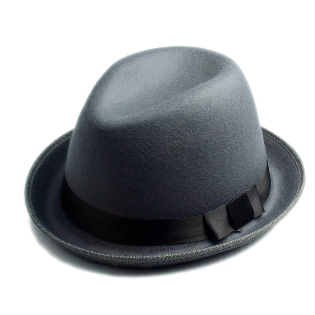 Unisex Men Women Wool Felt Fedora Hat Felt Floppy Ribbon Band England Panama Jazz Cap