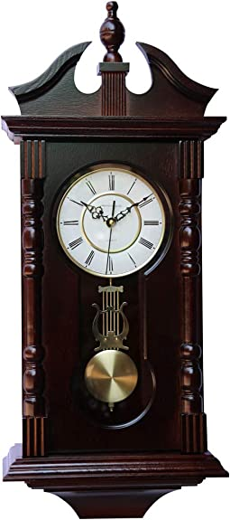 Vmarketingsite Wall Clocks Grandfather Wood Wall Clock with Chime. Pendulum Wood Traditional Clock. Makes a Great Housewarming or Birthday Gift Wall Clock Chimes Every Hour with Westminster Melody