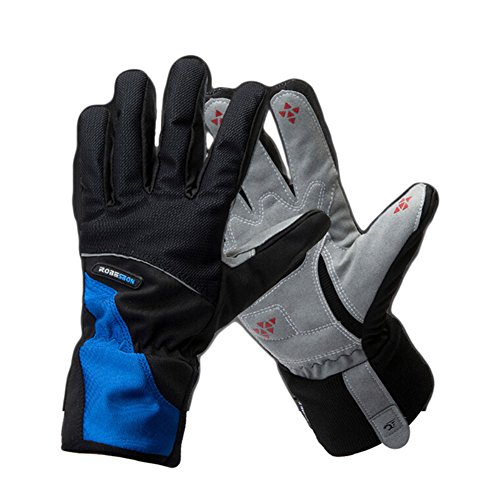 Warm Winter Thicken Bicycle Mitten Thermal Fleece Windproof Rainproof Cycling Gloves (Blue, XL)