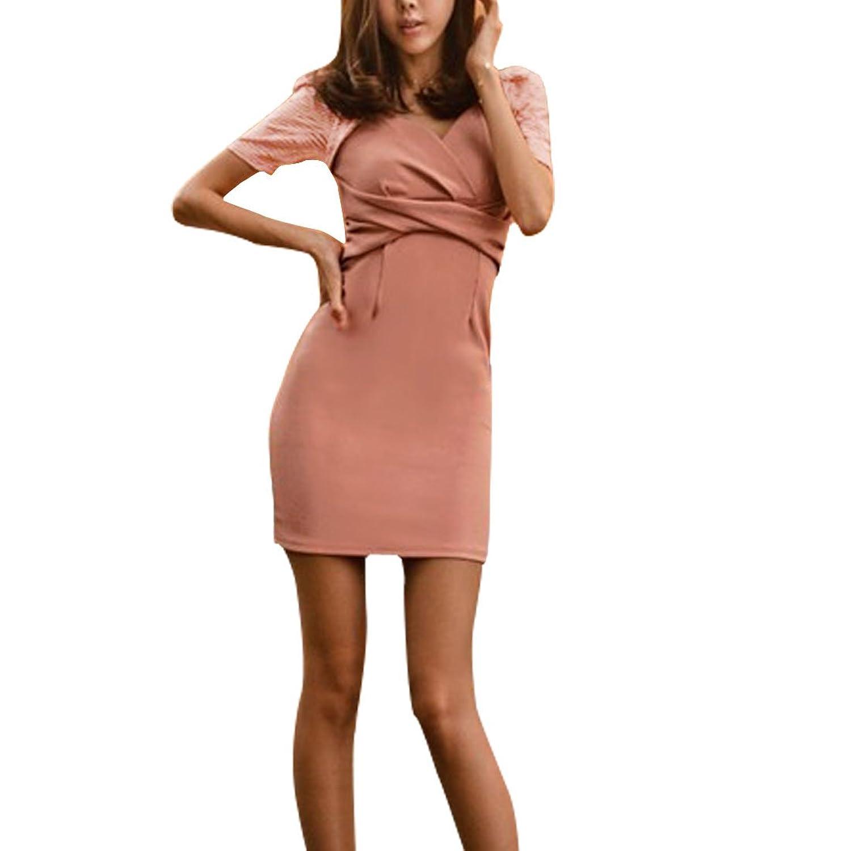 Lady V Neck Short Puff Sleeve Twist Design Front Close-fitting Mini Dress Xs