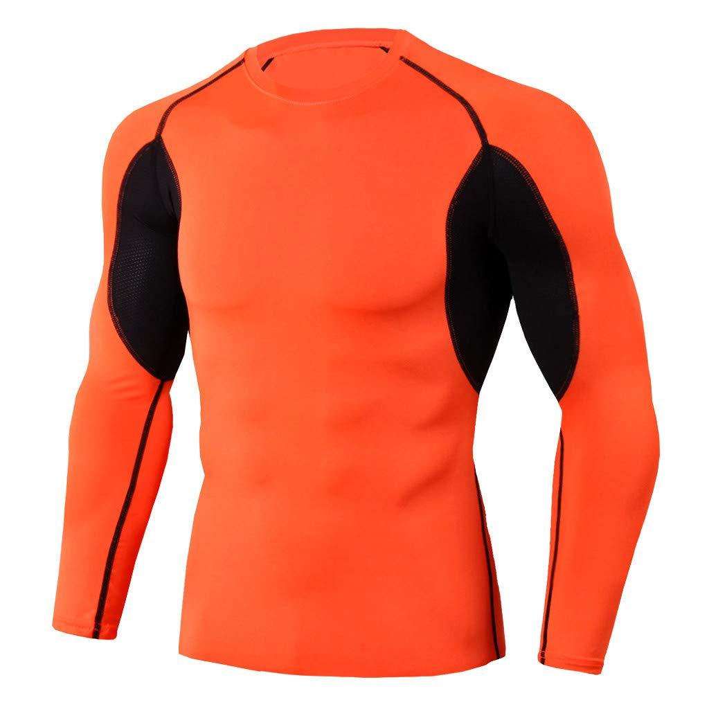Winsummer Men's Compression Mock Long Sleeve Shirt Baselayer Tops Athletic Workout T Shirts Orange