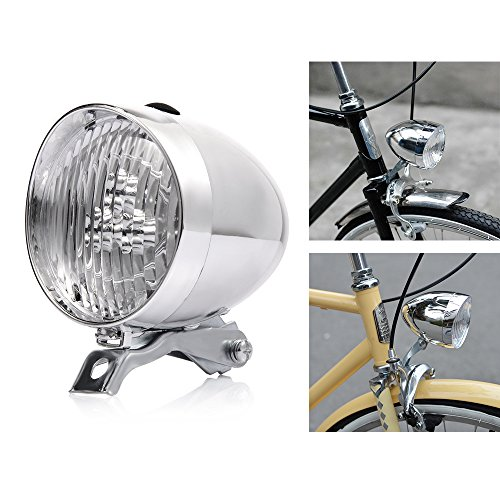 (P&T Bike Bicycle Light Front LED 180lumens Vintage Bicycle Headlight Retro Fashionable Decoration Cycling Flashlight Lamp (Silver))
