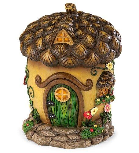 HearthSong® 726304-ACO Miniature Woodland Fairy Garden Village House, Acorn