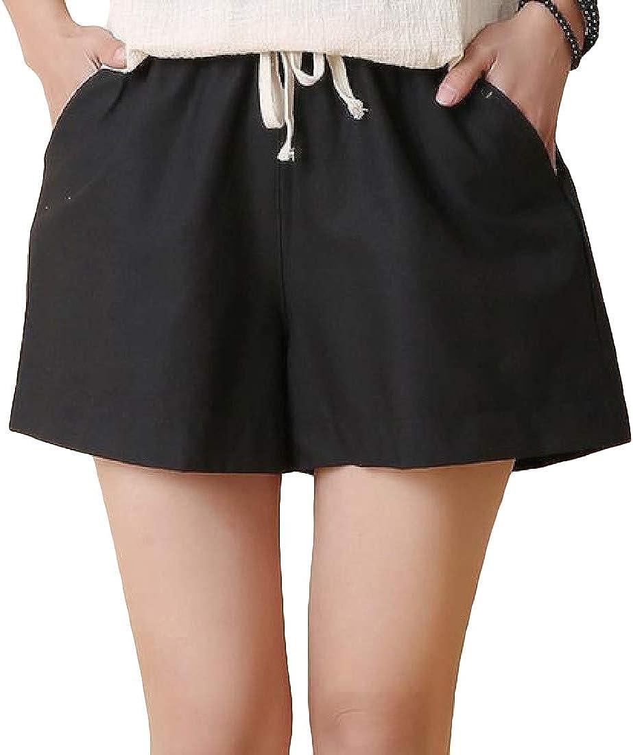 Joe Wenko Womens Elastic Waist Sports Plus Size Wide Leg Pockets Shorts