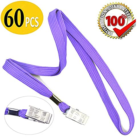 Purple Lanyard Bulk Neck Flat Cotton Lanyards with Badge Clip 60pcs 32-inch for Office ID Name Tags and Badge Holders Bulldog Clip Attachment (Purple - Identification Badge Attachment