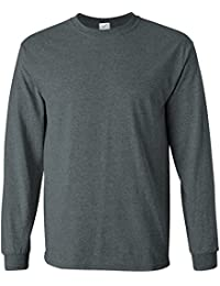 Men's Long Sleeve Heavy Cotton Crew Neck T-Shirts in 27 Colors: S-5XL