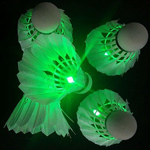 (Bringsine 4pcs LED Badminton Shuttlecock Dark Night Glow Birdies Lighting for Indoor Sports Activities-Green)