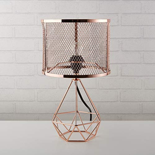 - Urban Shop 784857777130 Perforated Geo Table Lamp, Rose Gold