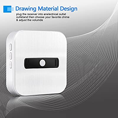 MwaBaiTx Wireless Doorbell Waterproof Operating at Over 600 Feet Remote Control Range and Over 50 Chimes and Doorbells Kit Set with Five Levels Ring Volume for Home and Kids Easily Installation
