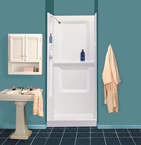 Mustee Durawall 32 in. x 32 in. x 73-1/4 in. 3-piece Direct-to-Stud Shower Wall in White