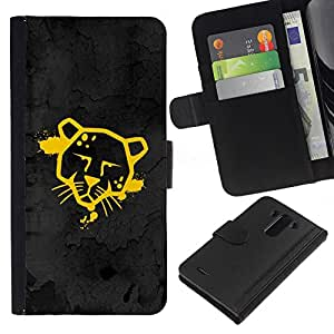 BearCase / Cuero de la tarjeta la carpeta del tirón Smartphone Slots Protección Holder /// LG G3 /// Divertido Street Art Graffiti Cougar Jaguar