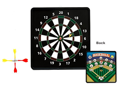 AOQING Safety Dart Board 2 in 1 Reversible Magnetic Dartboard - 13.5 x 13.5 Inch Standard Darts & Baseball Games
