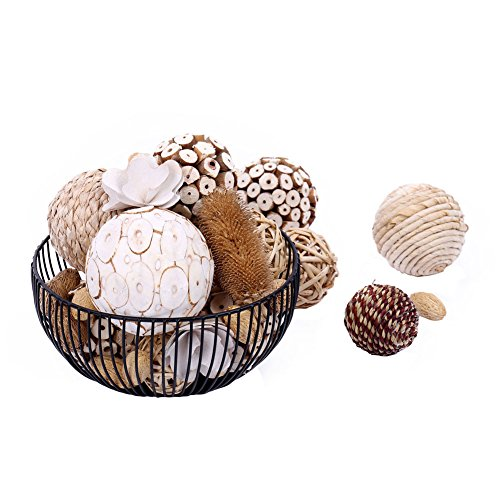 Bag of Assorted Decorative Spherical Natural Woven Twig Rattan and Cotton Bowl and Vase Filler, Balls Spheres Orbs Filler - Brown and White (Brown1) (Rattan Tall Vase)