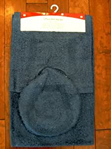 3pcs 100% Cotton Bath Bathroom Mat / Rug + Toilet Lid Cover Set - Navy Blue Color - Made in India