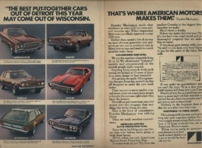 - 1972 AMC FULL-LINE: AMBASSADOR / HORNET / GREMLIN / JAVELIN / SPORTABOUT / MATADOR ORIGINAL COLOR AD - 2 PAGES - USA !!
