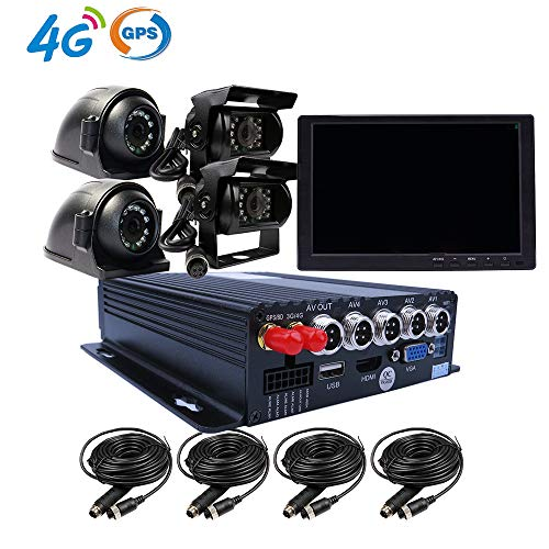 JOINLGO 4CH GPS 4G 1080P AHD Mobile Vehicle Car DVR MDVR Audio and Video Recorder Kit Remote Live View on Phone and PC 10 inches VGA Monitor 4 Side Front Rear View Car Cameras for Truck Bus RV