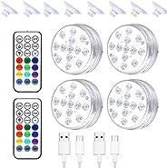 Yujue Luzes subaquáticas para piscinas, luzes LED submersíveis recarregáveis por USB, luz subaquática com cont