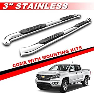 mifeier 3 side step rails nerf bars running boards for 2015 2016 chevy colorado gmc. Black Bedroom Furniture Sets. Home Design Ideas