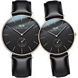 CARNIVAL Simple Dial Analog Quartz Couple Leather Band Watches Her or His Set of 2 (Rose Gold Black)