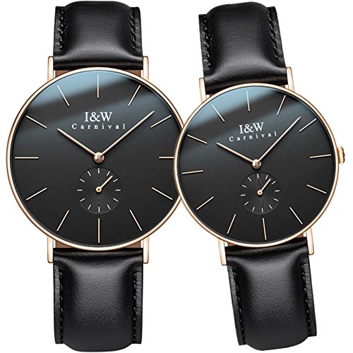 CARNIVAL Simple Dial Analog Quartz Couple Leather Band Watches Her or His Set of 2 (Rose Gold Black) by Carnival