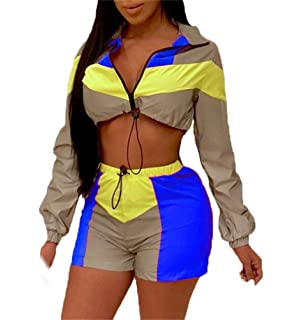 9ed75875ff23 Women's Sexy 2 Piece Block Outfits Long Sleeve Zip up Crop Top & Short  Pants Set