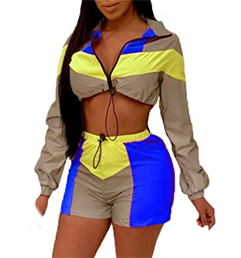 66df047759b Women s 2 Pieces Outfits Long Sleeve Zipper Jacket and Short Pants Set  Tracksuits