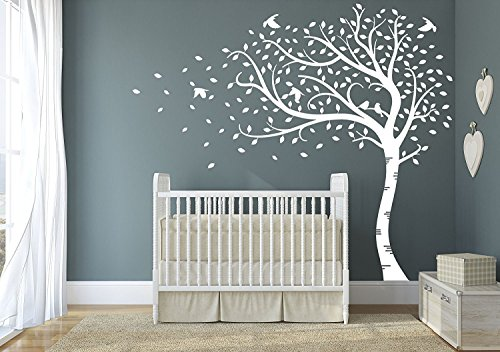 84' Matte (Premium Large Sweeping Autumn Tree with leaves and birds. Quality Vinyl Matte Wall Decal Sticker (e. All White))