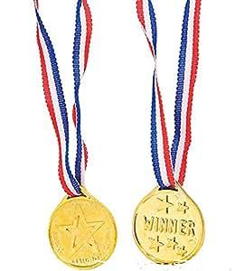Red, white and blue Laser winner Medals (3 Dozen) - Bulk